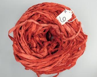 Sari Silk Ribbon, Recycled Silk Sari Ribbon, Fire engine red Ribbon, red sari ribbon, weaving supply, knitting supply, valentines ribbon