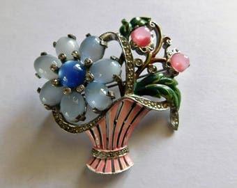 Vintage Enamel Brooch Flower Basket Rhinestones Moonglow Antique Jewelry