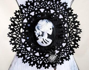 Gothic Wall Sconce - Halloween Decor - Memento Mori - 'Lady McPhee'- Victorian - Unique Assemblage Art - OOAK