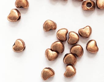 100 antique copper alloy spacer beads, antique bcopper heart spacer beads 3x3mm