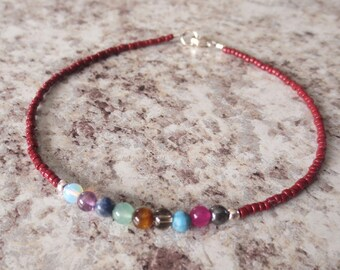 Chakra Sterling Silver Anklet/Bracelet...Sterling Silver Summer Anklet//Modern Beach Jewelry//Sterling Silver and Gemstone//Boho Chic