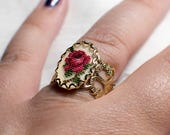 Petit Point Vintage Gold Ring with Red Rose
