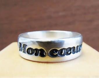 """Silver Samson & Delilah """"Mon Coeur"""" Aria Men's Ring"""