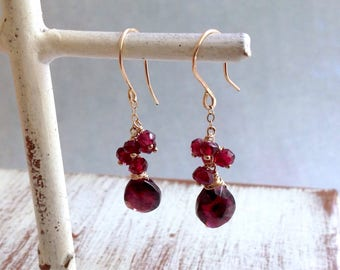Garnet Earrings - Gold Dangle Earrings - January Earrings - Cluster Earrings - Red Garnet Earrings - Dainty Earrings - 14kt Gold Earrings