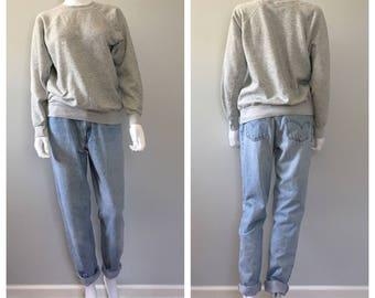 Vintage grey raglan sleeve sweatshirt Small oversized sweatshirt