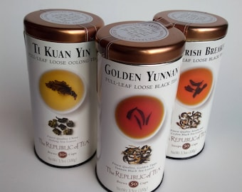 Three empty Republic of Tea Tins Ti Kuan Yin Golden Yunnan and Irish Breakfast for craft projects or reuse