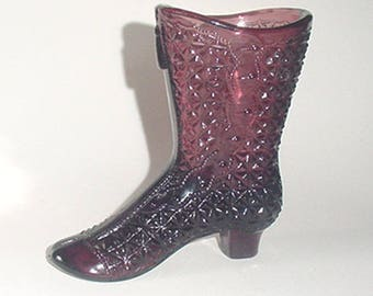 Shoe Boot - Lovely Amethyst - Tall Antique Style  Boot in A Button Pattern