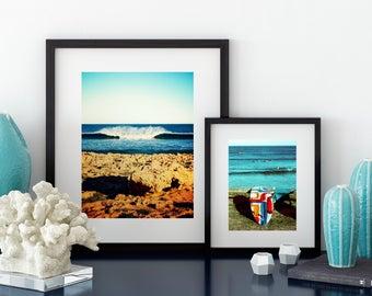 colourful longboard surf beach print, red, yellow, blue. Cottesloe, Australia.