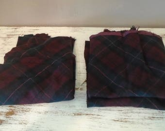 2 large pieces of  maroon and green plaid wool fabric for rug hooking, penny rugs, quilting, appliqué , set # 33
