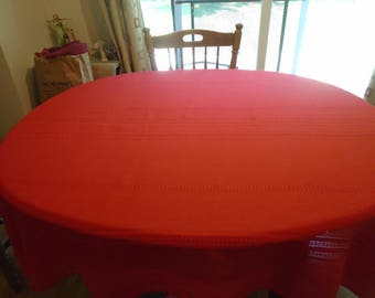 Large red cotton blend oval tablecloth, 88 x 58 / red Christmas tablecloth / holiday table linens