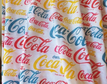 Coca Cola Fabric Jersey Fabric Coca Cola Trademark Logo Fabric Red Blue Yellow Print Fabric T-Shirt Fabric Stretch Knit Sewing Fabric