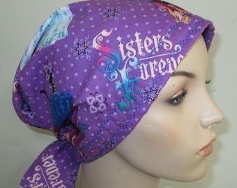 Scrub Cap  Chemo Scarf Sisters Forever Frozen Print  Hat, Cancer Hat, Hijab, Alopecia Turban Pediatric Nurses Hat