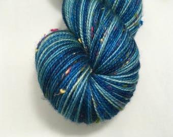 Blue Waves - Allegria Yarn - Ready to Ship - Fingering Weight - Nep Yarn - Tweed - Sock Yarn