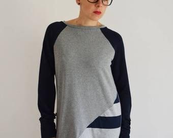 ON SALE Tunic sweatshirt in cotton for women, long sweatshirts,tunic dress, organic cotton clothing,eco friendly,dress , sweatshirt dress