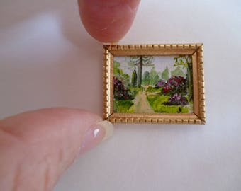 A Tiny one 24th scale Miniature Painting,A walk in Sheffield Park, Sussex , England