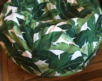 NEW Tropical Leaf Print Bean bag chair in indoor/outdoor fabric Green  UNFILLED with cover and liner