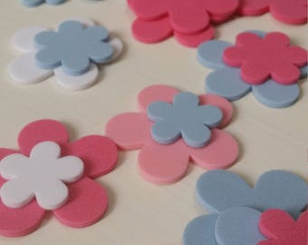 Stickers - Flower set of 44 foam stickers in pastel colors - Blue, Pink, Shocking Pink and White (Garden Collection)