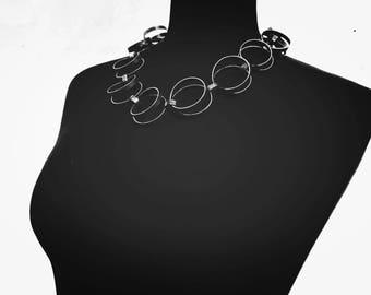 Line study-Alpaca or nickel silver-Statement necklace - Free form - Dark Oxidized Finish - Raw Free Design -Handmade Chain