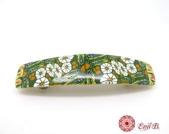 Barrette à cheveux 5 cm, polymère, pince cheveux,barrette fantaisie, barrette colorée, barrette verte, barrette fleurie, barrette fleurs