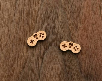8 pcs Game Controller Wood Charm, Carved, Engraved, Earring Supplies, Cabochons (WC 311)