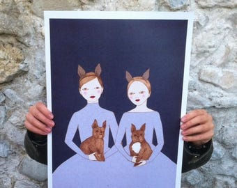 """Sale Large print of French Twins, A3 format 11""""x16"""" /28x35cm/"""