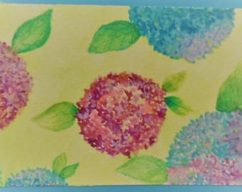 Watercolor Hydrangeas Card Watercolors Hand Painted Watercolor Hydrangea Card Greeting Card Watercolor Flowers