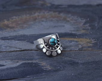 Sunflower Slice Ring with Turquoise