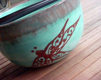 Dragonfly pottery bowl aqua blue and chocolate brown or choose your colors