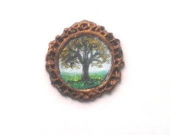 """1:24 Scale Oil Painting Tree Landscape .75"""", Framed READY to SHIP"""