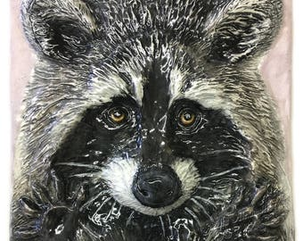 Raccoon sculptured Portrait Ceramic 3-d Tile Alexander Art IN Stock