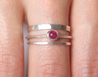 Ruby Ring Set  | Stering Silver Ring Set |  Nature Inspired Rings