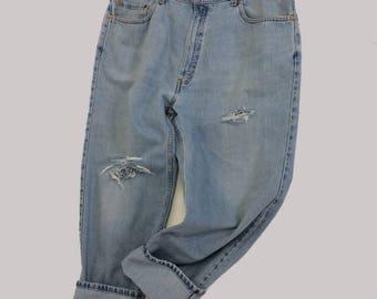 42 Raw Destroyed Vintage Levi Boyfriend  jeans 42 waist denim jeans