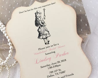 Alice in Wonderland Invitations Pink Set of 10 Baby Shower Bridal Shower Birthday Invites Printed