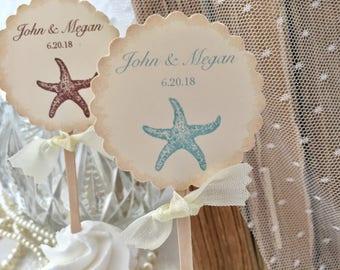Starfish Cupcake Toppers, Beach Wedding Wedding Cupcake Toppers, Food Picks Set of 12