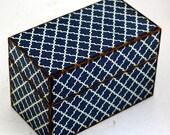 Wood Recipe Box Dark Blue Quatrefoil Fits 4x6 Cards
