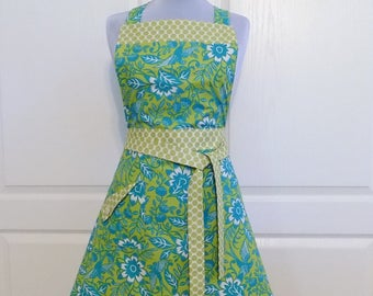 Retro Teal Flower Full Apron Womens Cute Kitchen Aprons with Pocket