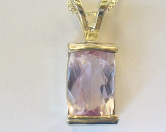 Natural Kunzite Pendant Necklace -  Genuine 3.4 Carat Gemstone in Solid Sterling Silver - Mined from Earth Spodumene Kunzite Gem