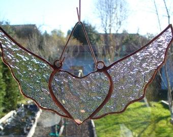 Heart Suncatchers, Stained Glass Suncatchers, Suncatchers, Stained Glass Hearts, Heart with Wings, Hand Made,