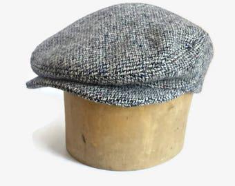 Driving Cap in Vintage Harris Tweed - Men's Driving Cap - Custom Flat Cap - Herringbone Tweed Cap