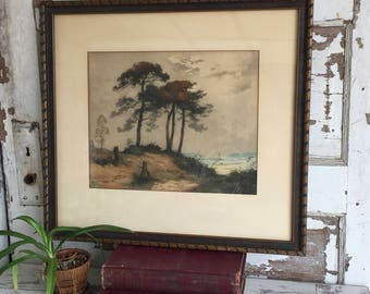 Antique Photogravure Hand Colored French Print Galerie Lutetia Paris - Framed Under Glass