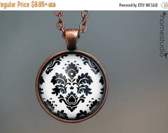 ON SALE - Damask : Glass Dome Necklace, Pendant or Keychain Key Ring. Gift Present metal round art photo jewelry by HomeStudio