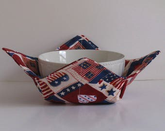 Microwave Fabric Bowl, Fabric Food Warming Bowl,  Ice Cream Bowl, Hostess Gift, Kitchen Gift, Patriotic, Flags , Hearts, Americana