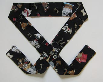 Neck Cooling Band / Cooling Band / Neck Cooler /  Hot Flash Relief / Cooling Scarf / Dogs on Black / Dogs / Black and White Dogs