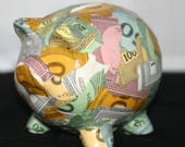 Decoupaged Vintage Monopoly Money Piggy Bank Small Pig Shaped