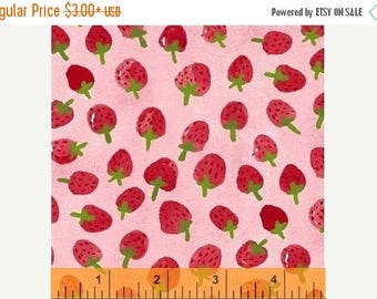 ON SALE Flower Pedals Pink Strawberries by Carolyn Gavin for Windham Fabrics