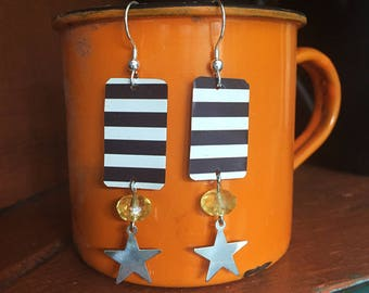 Stars and stripes!  Earrings.  Recycled Tin Jewelry.