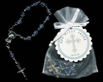 45 Mini Rosary Favors - Baby Boy Baptism Favors - Christening Favors - Communion Favors - First Communion Favors - Rosary Favors - Blue