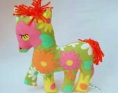 Vintage Pop Flower Horse, 60's Retro Fabric Pony Plush Toy, Cheery Vintage Floral Horse