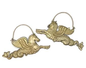 Sea Monster Earrings | Brass Earrings | Statement Earrings | Fantasy Animals | Hippocampus