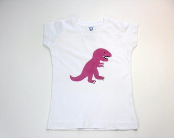 Pink Dinosaur T Shirt, T Rex  Hand Painted on a White Cotton Tee or Top for Babies or Toddlers
